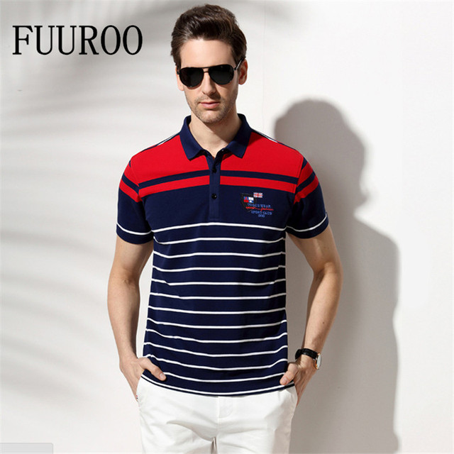 Men Stripe Polo Shirts Brand Summer Short Sleeve Business Cotton Shirts Breathable Casual Polo Shirts W4002-Euro Size