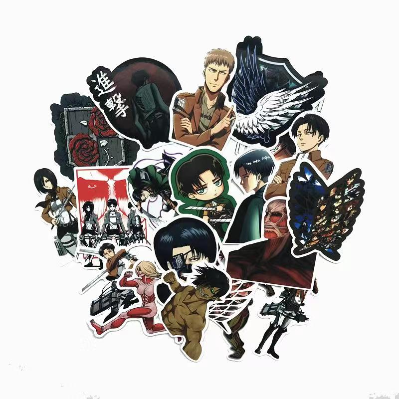 42Pcs/lot Japanese Anime Attack on titan Mikasa Levi Eren Stickers For Car Phone Luggage Laptop Bicycle Decal Sticker42Pcs/lot Japanese Anime Attack on titan Mikasa Levi Eren Stickers For Car Phone Luggage Laptop Bicycle Decal Sticker