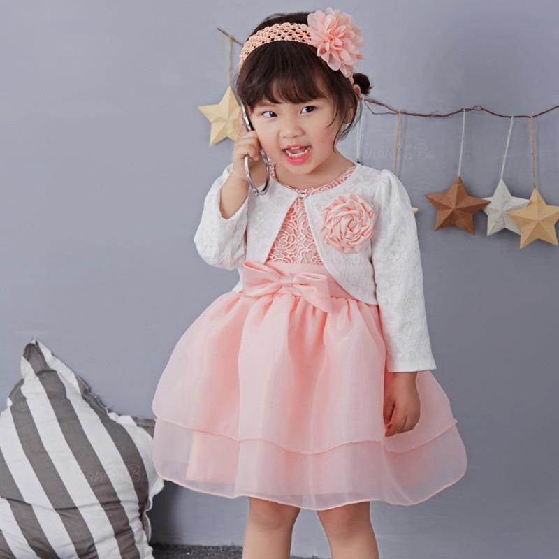 Pink 1 Year Old Baby Girl Dress Princess Wedding Jacket
