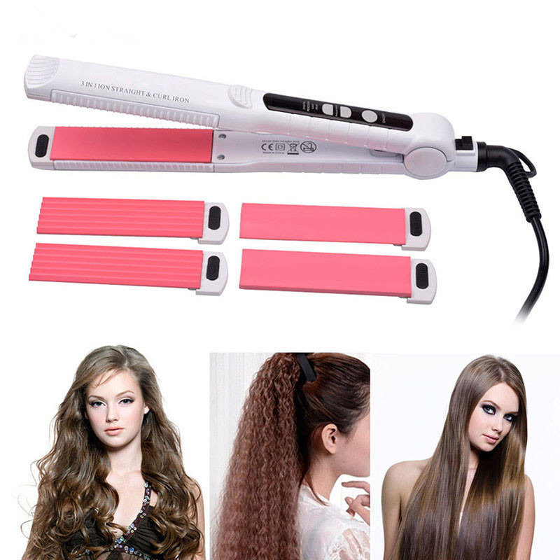 3-In-1 Tourmaline Ceramic Hair Curler Straightener + Hair Corn Curling Iron +Hair Straightener Flat Iron Styling Tool kemei km 2113 tourmaline 2 in 1 ceramic coating electric corn curler hair straightener straight iron curling styling tools
