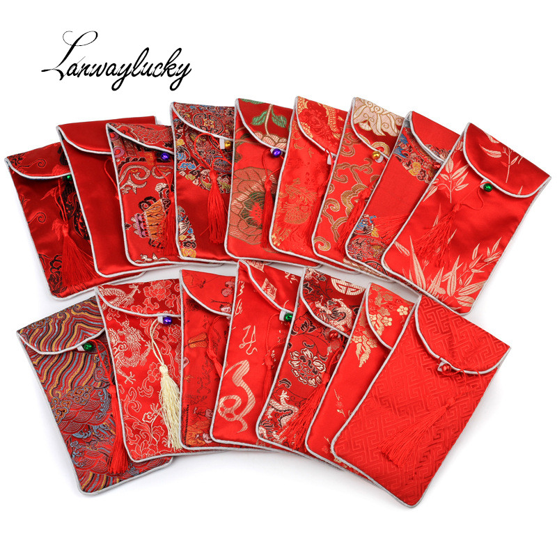 30pcs/lot 17x9cm Rectangle Chinese Style Handmade Silk Brocade Lucky Tassel Jewelry Pouches Collected Beads Gifts Bags With Bell