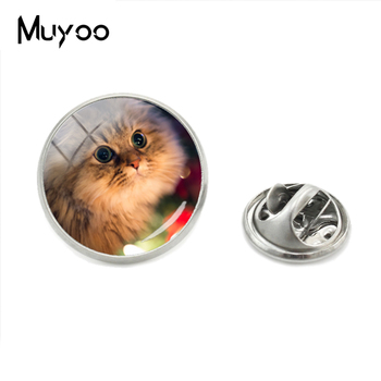 2018 New Beautiful Innocent Eyes Cute Cat Handmade Lapel Pins Lovely White Cat Glass Dome Siver Metal Collar Pin Brooch Jewelry image