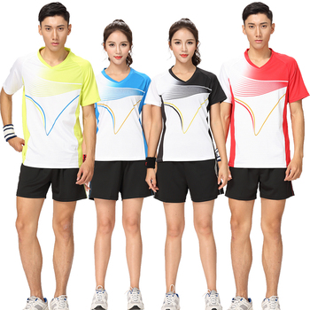 Adsmoney wysokiej jakości tenis koszule garnitury zestawy z krótkim rękawem Fitness odzież sportowa mężczyźni kobiety tenis koszulka tenis koszule z szortami tanie i dobre opinie TENNIS Poliester Anti-shrink Przeciwzmarszczkowy Oddychające Anty-pilling Szybkie suche 880-2 Pasuje mniejszy niż zwykle proszę sprawdzić ten sklep jest dobór informacji
