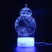 BB8 Lamp Illusion 3d Table Remote Control Touch Led Light Decoration Nightlight Kids