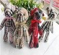40pcs plaids cloth button teddy mini bears,11cm Ted bouquet,wedding Birthday gift pendant,children boys girls baby shower party