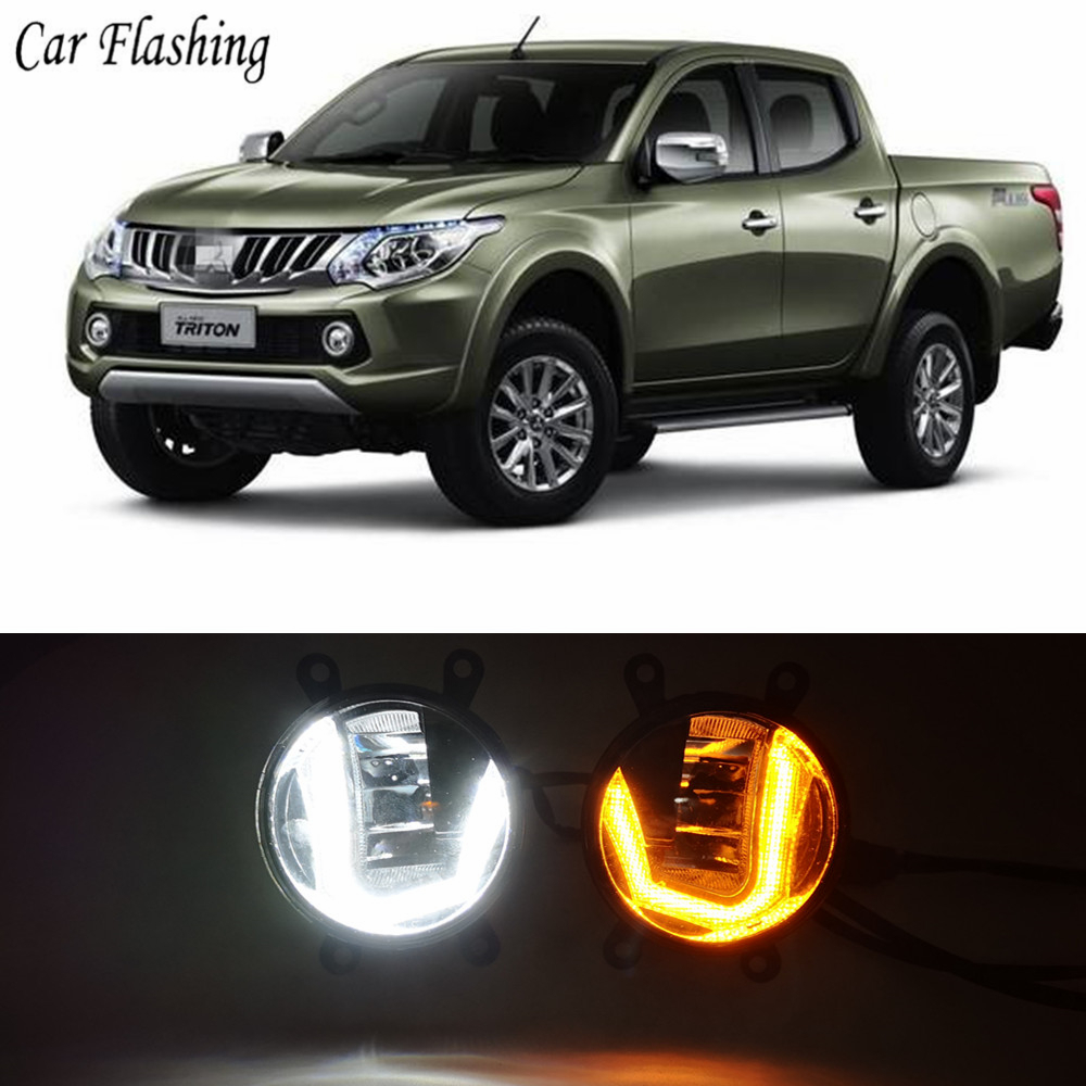 3 IN 1 Functions LED For Mitsubishi Triton L200 2013 2017 DRL Daytime Running Light Car