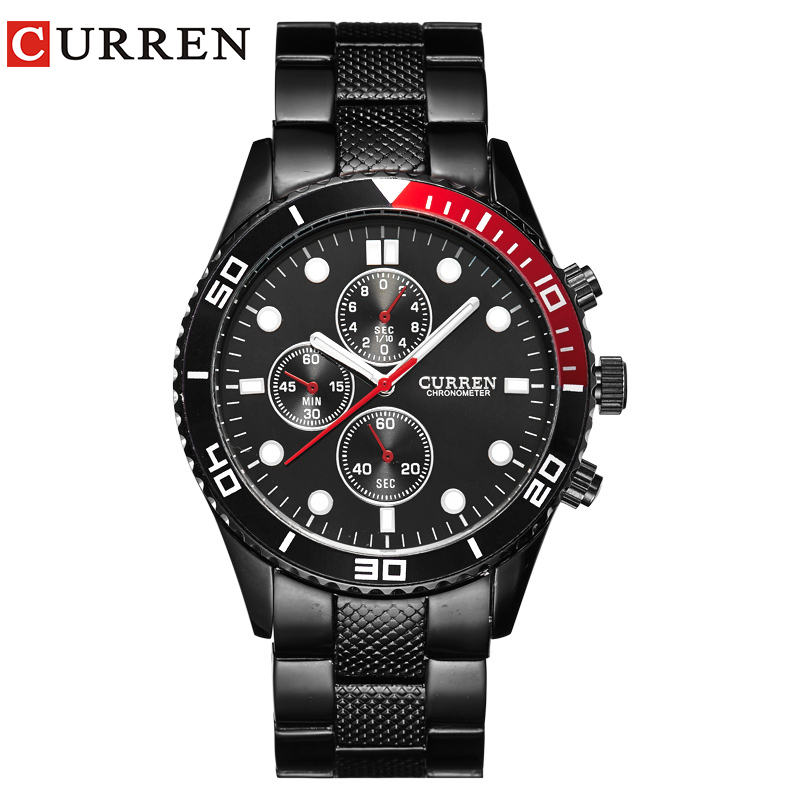 CURREN 8028 Elegant Quartz Steel Watch Mens Wristwatches with Point Scales/Round Dial-Black 6 abrasives single ended tube heating electric rods dry $ stainless steel pipe