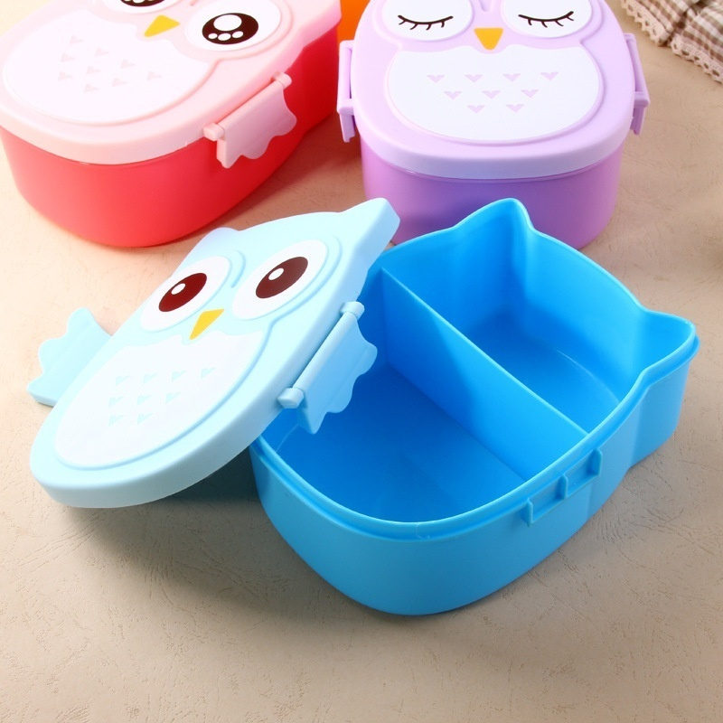 Urijk Students Lunch Box With Spoon 900ml Cute Owl Pattern Portable Kids Bento Box Camping Picnic Storage Food Container Plastic