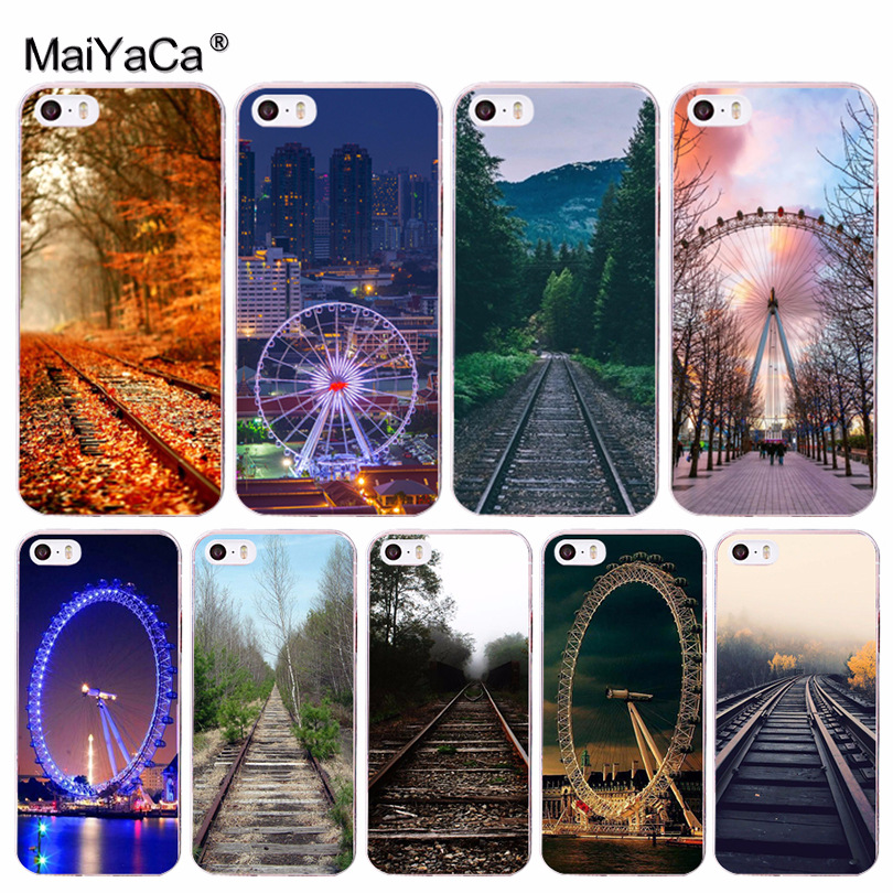MaiYaCa Landscape Railway Ferris wheel Novelty Phone Case Cover for iPhone 8 7 6 6S Plus X 10 5 5S SE 5C 4 4S Coque Shell