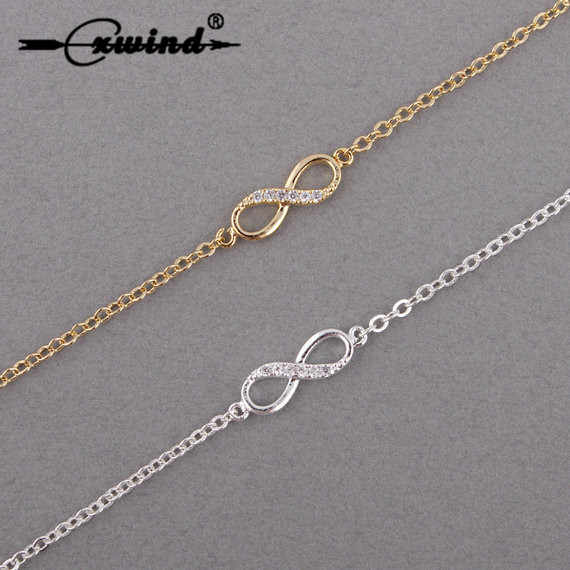 Cxwind Hot Lucky 8 Bracelet CZ Infinity Cross Bracelets for Women Men Friendship Bracelets Jewelry pulseras mujer