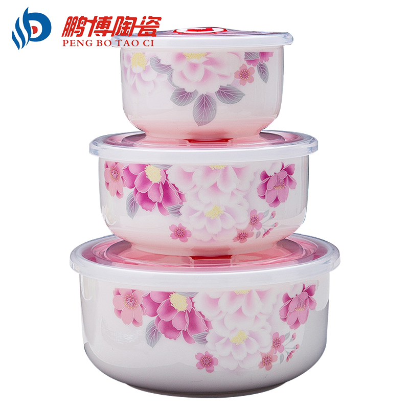 3 pieces set Modern Portable Bone China Ceramic Fresh Bowls Food Container Microwave Seal Dinner Lunch