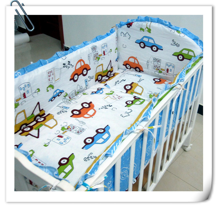 Promotion! 6PCS Baby Bedding Set Baby Cot Crib Bedding Set 100% Cotton Baby Bedclothes(bumpers+sheet+pillow Cover)