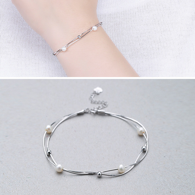 Factory Direct Sales S925 Sterling Silver Double Snake Bones Fresh Water Bead Bracelet Fashion Wild Silver Jewelry