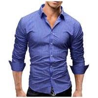 Camisa de hombre de manga larga 2018 de marca de Hombre Camisas Casual Hombre Slim Fit moda Plaid Chemise para hombre Camisas de vestir XXL