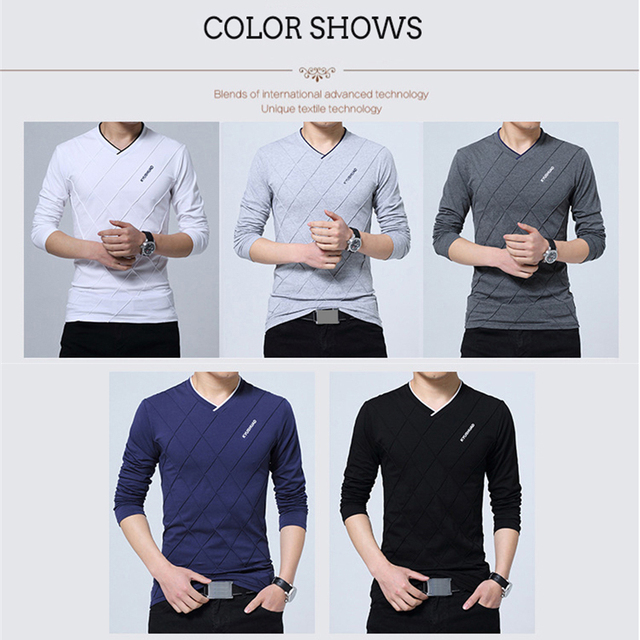 BROWON 2018 Fashion Men T-shirt Slim Fit Custom T-shirt Crease Design Long Stylish Luxury V Neck Fitness T-shirt Tee Shirt Homme