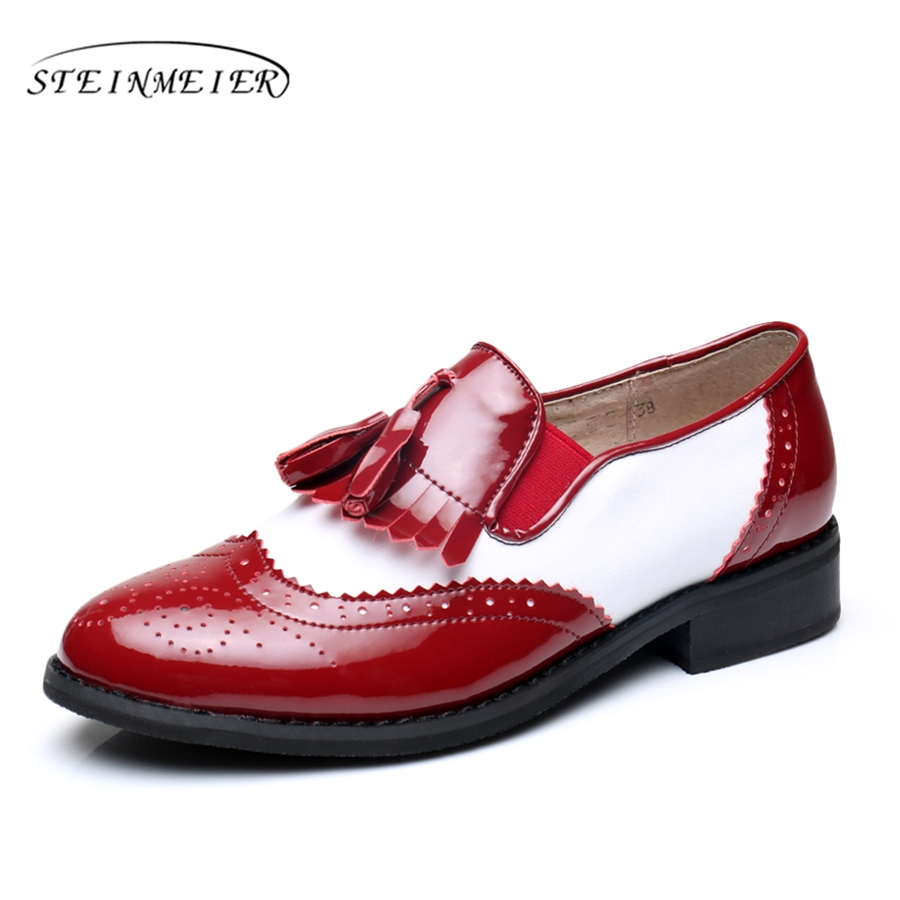 Woemn genuine leather tassel oxford flats vintage Casual shoes round toe handmade red white oxfords shoes for women fur handmade genuine leather shoes female sandals vintage open toe low heeled casual shoes flats free shipping