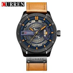 Relogio Masculino Men's Military Sport Quartz Watch Curren Watches Men Brand Luxury Leather Waterproof Wristwatch Man Clock 8301