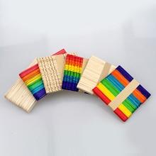 купить Color color ice cream bar, Popsicle stick, wooden sticks, wooden chips, educational toys for children, DIY handmade materials дешево