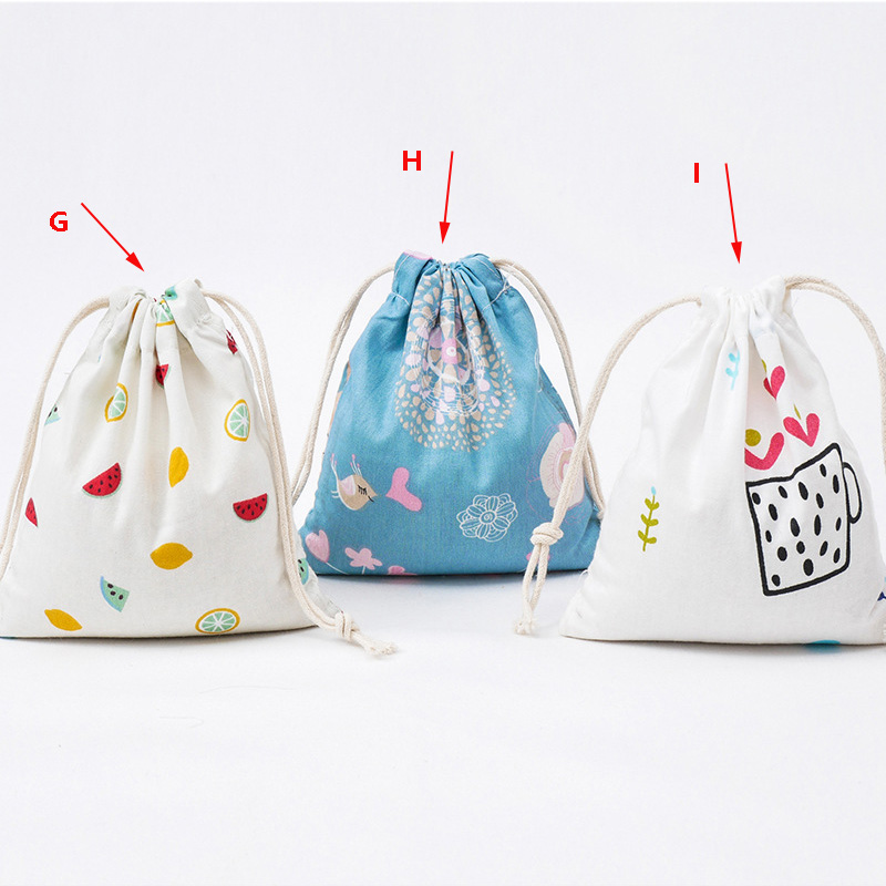 Unisex Deer Print Canvas Drawstring Backpack Women Candy Jewelry Shopping canvas bag Shoes Travel Organizer Bag
