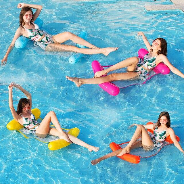 2019 Nova Moda de Natação Piscina Inflável Flutuante Água Brinquedo do Verão Água Flutuante Flutua Rede Cadeira de Salão Cama Chaise Longue