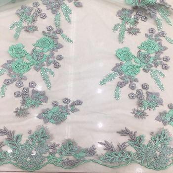 green lace fabric soft touching high quality 2019 tulle fabric flower lace green and grey new collection goods