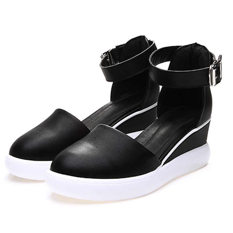 DRKANOL ใหม่ผู้หญิง WEDGE Platform รองเท้าแตะสีดำสีขาว Gladiator รองเท้าแตะผู้หญิงรองเท้าส้นสูงผู้หญิงฤดูร้อนรองเท้าแตะสุภาพสตรีรองเท้า