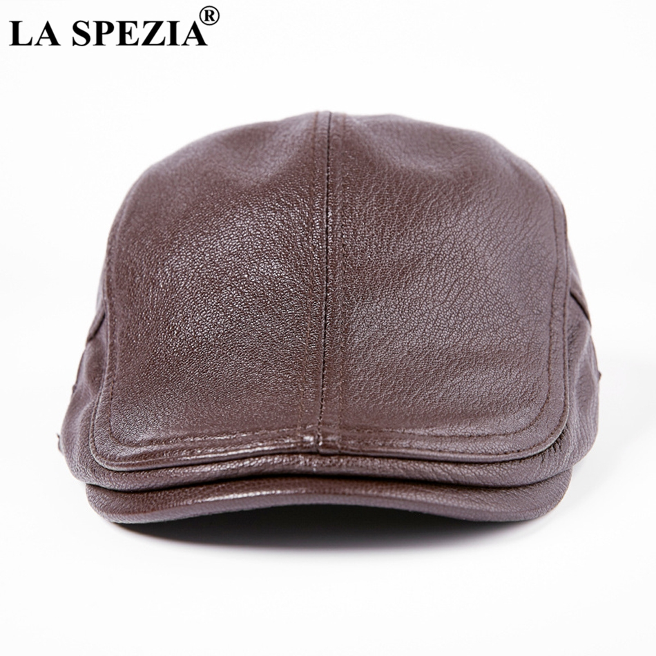 2283912ec9e Feature  Men Duckbill Caps Black   Genuine Leather Beret Cap Ivy    Adjustable Driving Flat Hats. LA SPEZIA ...