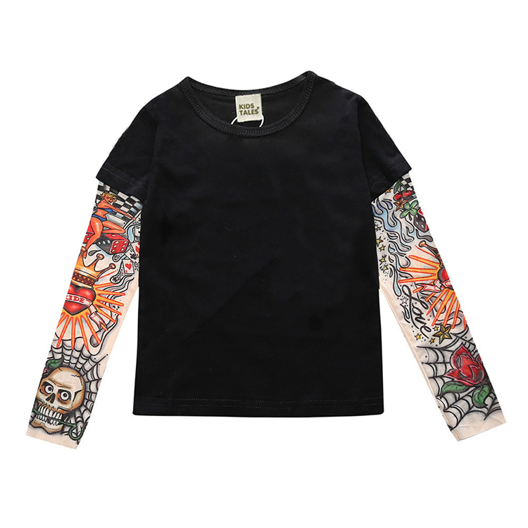 Novelty Tattoo Long Sleeve Children T-Shirts Cotton Boys T Shirt Kids TShirt Autumn Kids Girls Tops 2-7Years Children Clothes