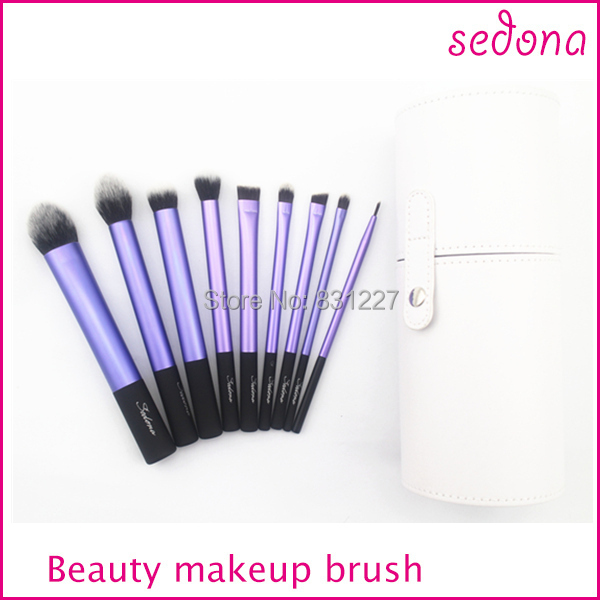 Sedona makeup brushes with white holder,9pcs cosmetic brush into box package,three color ...