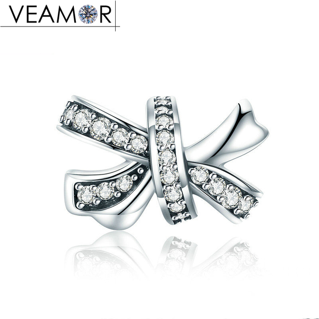 824b022c6 VEAMOR Brilliant Bow Charm 100% 925 Sterling Silver Pave Clear CZ Bowknot  Charms Beads Fit Pandora Bracelets DIY Jewelry Making