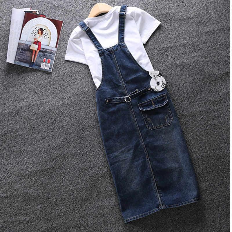 2019 весенне-летнее джинсовое женское платье свободное платье на тонких бретельках джинсы большого размера винтажное повседневное женское платье комбинезон S-5XL