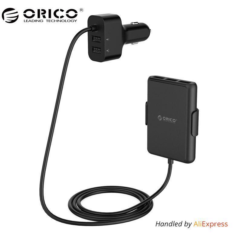 ORICO 5 Ports QC3.0 USB Car Charger Universal USB Fast Adapter 52W for MPV Car Mobile Phones Tablet PC 12V/24V Available Black