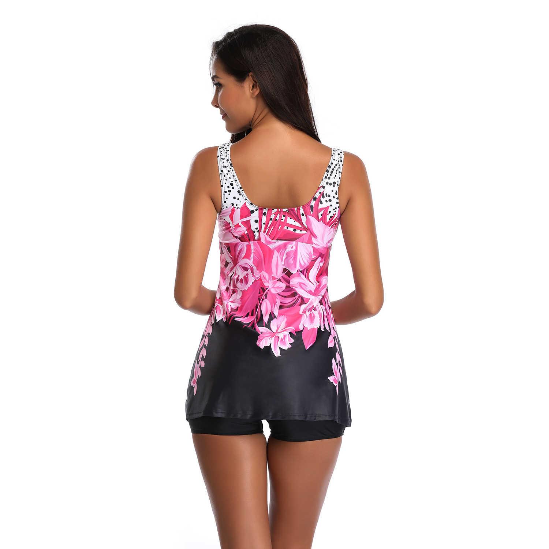 Novo feminino grande flor-print tankini swimdress com preto boyshort dois pieice maiôs rosa & azul comprimento médio maiô