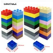 Smartable Big Bricks 2x2 2x4 Parts DIY Building Blocks Compatible All Brand Duplo Toys Set Christmas Gift Mixed colors 20pcs/set цены