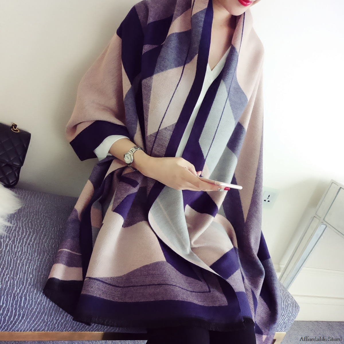 double-sided shawl dual-use women's air-conditioned wool imitation cashmere scarf shawl long section of the scarf