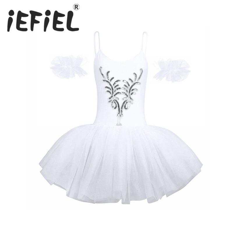 iEFiEL White Women Adult Professional Swan Lake Tutu Ballet Costume Dress Sequined and Beads Flower Leotard Tutu Dancing Dress