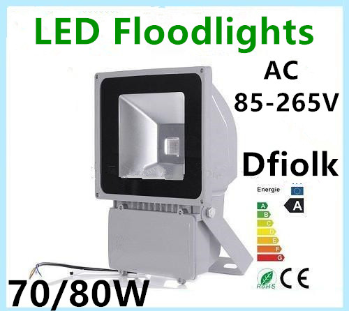 LED flood light 70W 80W 100W AC85-265V waterproof IP65 Floodlight Spotlight Outdoor Lighting Freeshipping ultrathin led flood light 100w 70w white ac85 265v waterproof ip66 floodlight spotlight outdoor lighting projector freeshipping