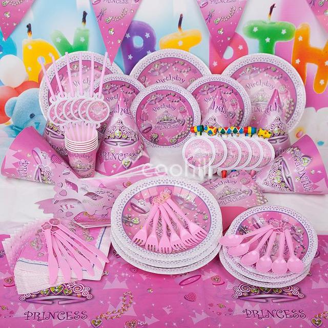 f0da162eaed 90pcs set Pink Princess Birthday Party Decorations Set Girl Event Party  Supplies Favor Items For Children Kids Party Supplies