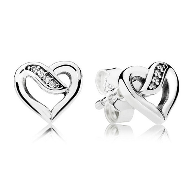 100% 925 Sterling Silver Pandora Earrings For Women Ribbons of Love Earring  Studs Fine Original Pandora Jewelry Wedding Gift