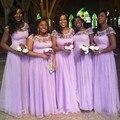 Nigeriano vestido da dama de Lavender manga Cap A linha Plus Size barato Long Formal vestidos dama de honra colher vestidos de casamento