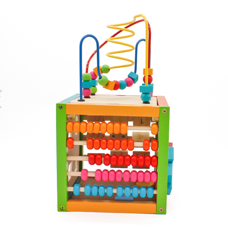 NEW Wood 6 in 1 Bead Maze Activity Cube Natural & Non toxic Activity Center Box Early Learning Educational toys for Children