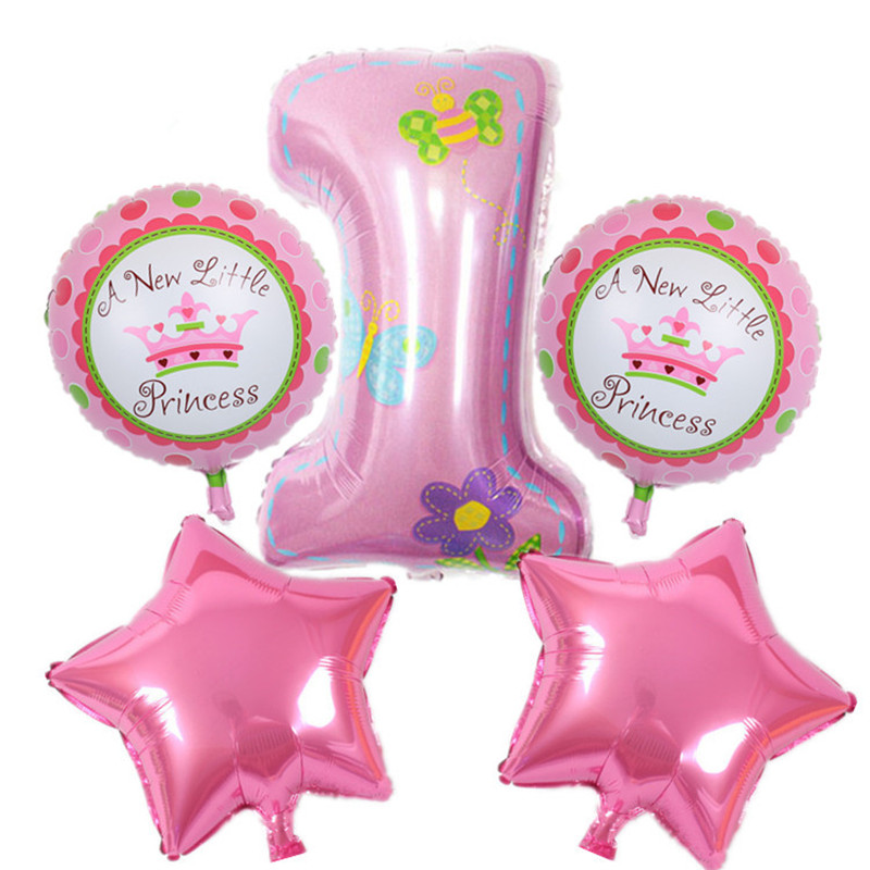 Baby 1st happy birthday party decoration pink blue baloons Number helium aluminum foil balloons globos ballons air balloon
