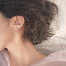Elitven 2pcs Star Ear Climber Clip on Earrings 925 Real Sterling Silver Stud for Women Grils Jewelry Gift Mother Girlfriend