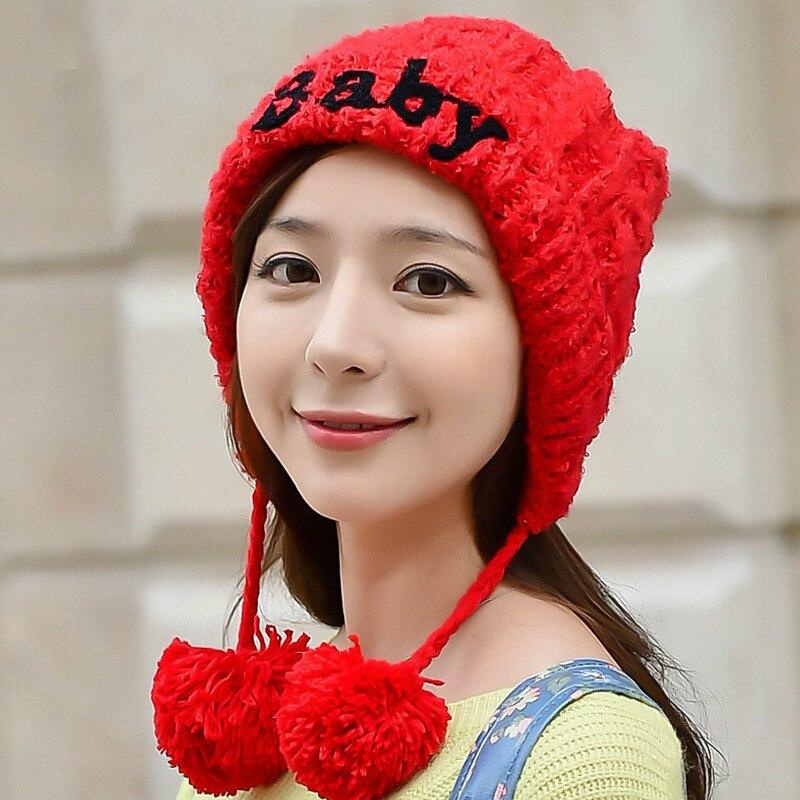BomHCS Cute Women's Fashion Autumn Winter Warm Crochet Beanie Handmade Ear Muff Knitted Hat Cap with Letters bomhcs cute big flower beanie winter lady s warm crochet knitted hat 10