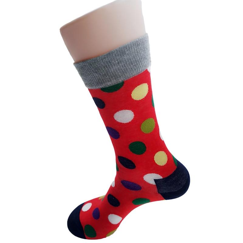 New arrival men socks long fashion colorful dot cotton soks male and mens long happy socks mens dress sock