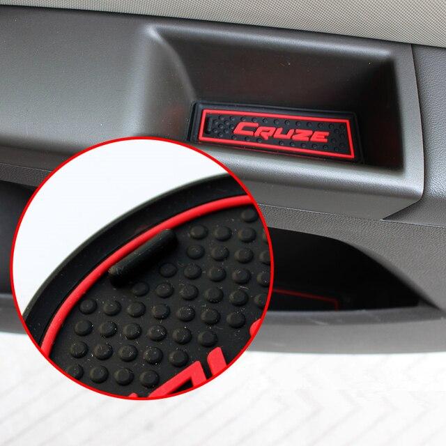 9pcs Car Styling Interior Non-Slip Mat Door Groove Pad Cushion Rubber Mat Fit For Chevrolet Cruze Sedan Hatchback 2009-2014