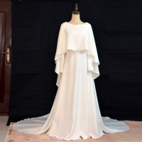 Real Pictures New Arrive White Ivory Bridal Dress Vintage Muslim Plus Sizes Wedding Dress with Scarf Short Train Long Sleeves