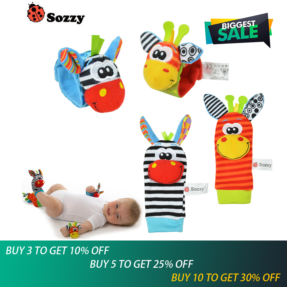 4pcs/lot Hot Sozzy Baby Toys Garden Bug Wrist Rattle And Foot Socks 4 Style(2 Wrist Rattles 2 Socks)