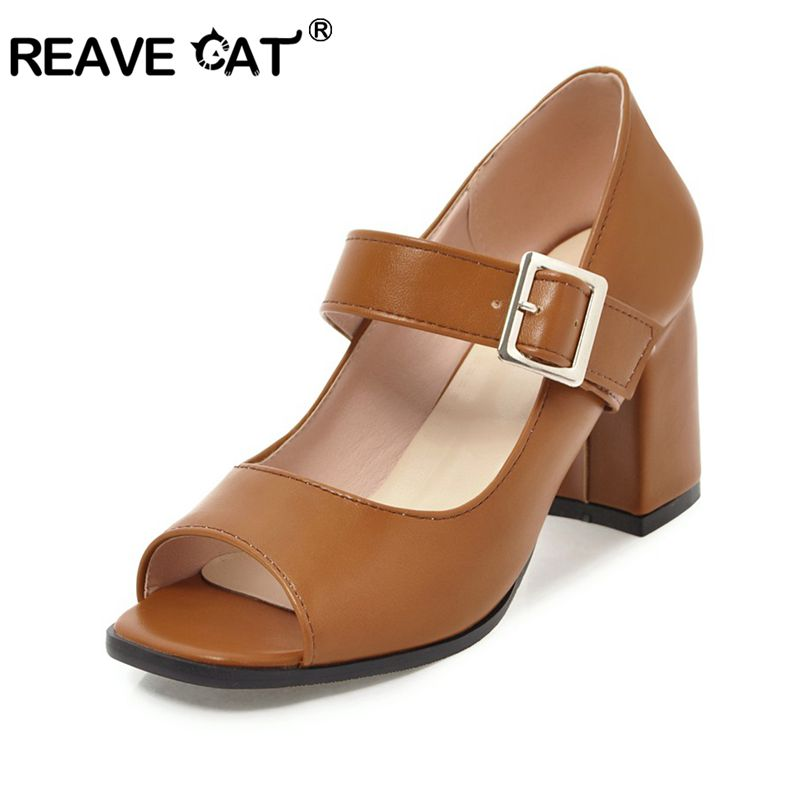 REAVE CAT Fashion Women Pumps Pu Leather Pumps Peep Toe Thick Heels Shoes Women Stiletto Footwear Shoes Zapatos Mujer A418