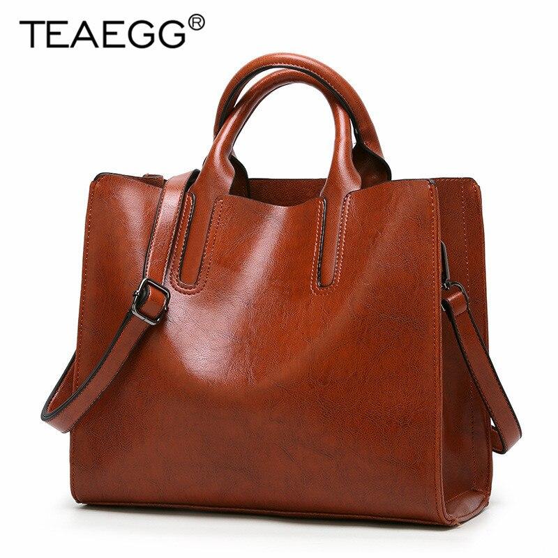 ZuverläSsig Teaegg Mode Marke Handtasche Frauen Pu Leder Schulter Tasche Vintage Große Kapazität Top-griff Eimer Taschen Einfachen Stil Feste Tote